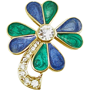 Vintage Signed Trifari Enamel & Rhinestone 4 Leaf Clover Pin