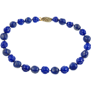 Vintage Faux Lapis Beaded Choker Necklace