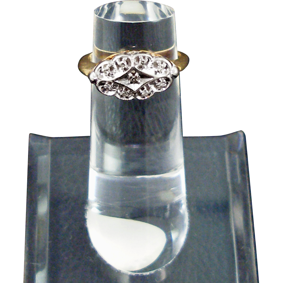 Vintage 14K Diamond Dinner Ring