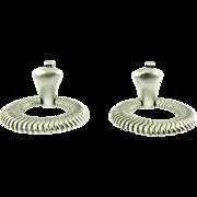 Vintage Trifari Silver Tone Door Knocker Clip Earrings