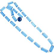 Vintage Czech Blue & Clear Glass Glass Bead Necklace
