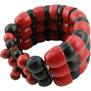 Vintage Red and Black Wooden Bead Memory Wire Bracelet
