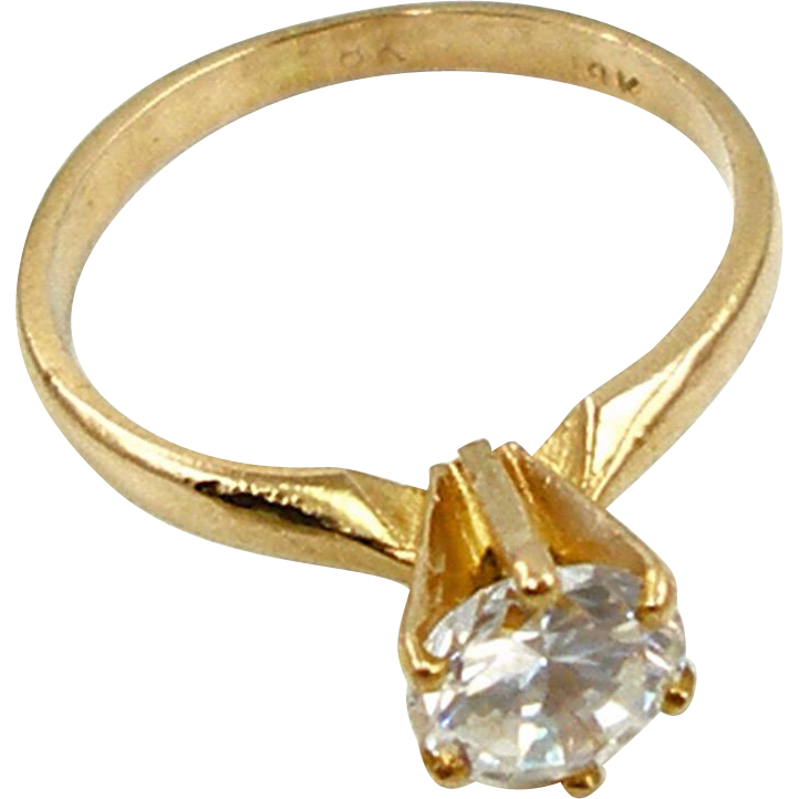 Vintage 18K Solitaire Ring