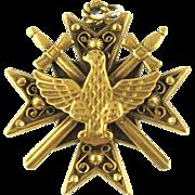 Vintage Coro Glory Cross, Swords and Eagle Pendant