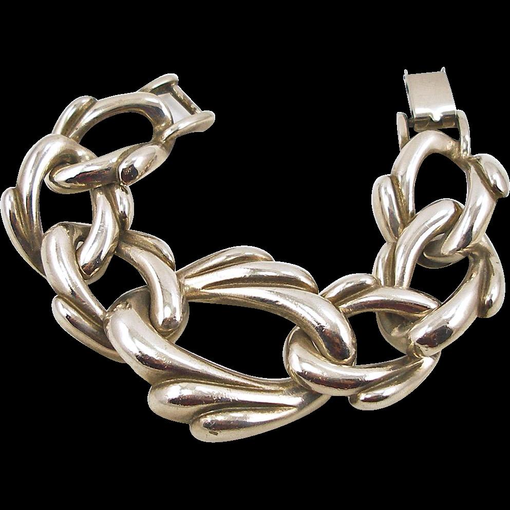 Vintage Unsigned Chunky Silver Tone Link Bracelet
