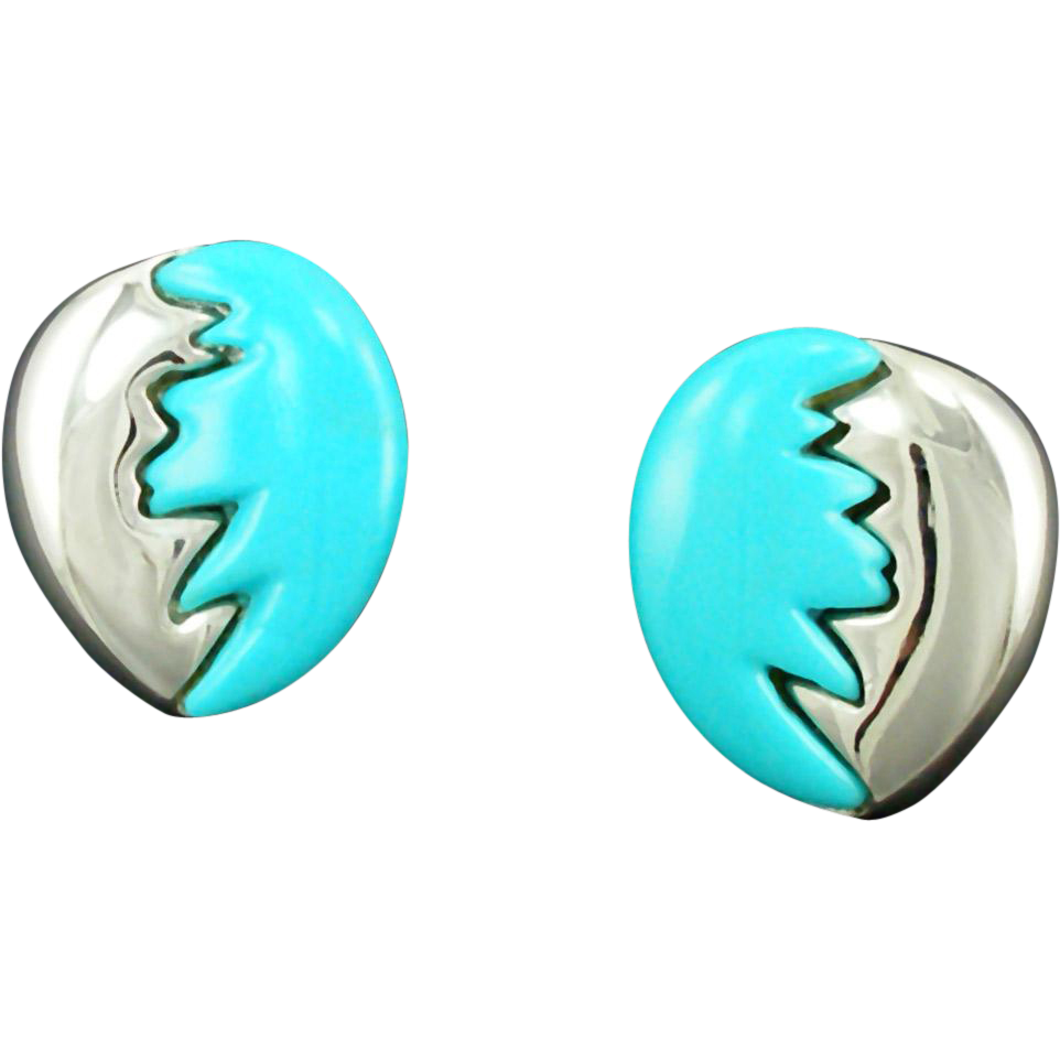 Unsigned Vintage Blue & Silver Egg Shaped Clip Earrings