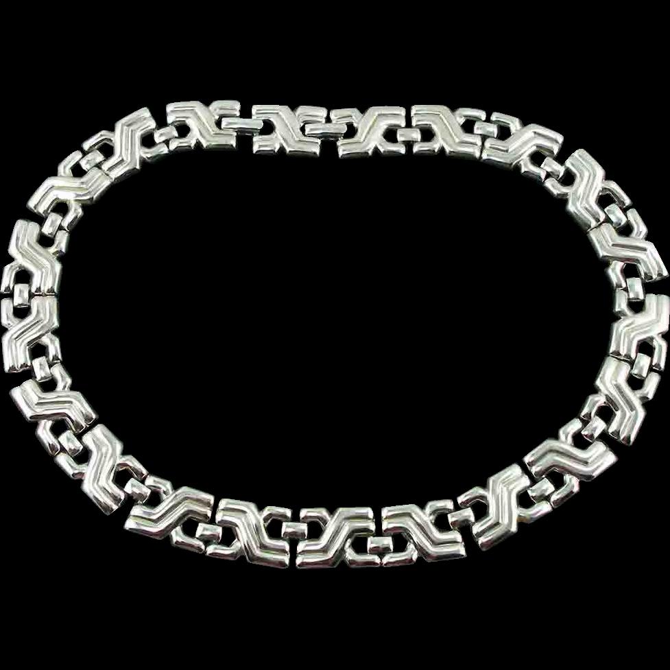 Vintage Monet Geometric Link Necklace