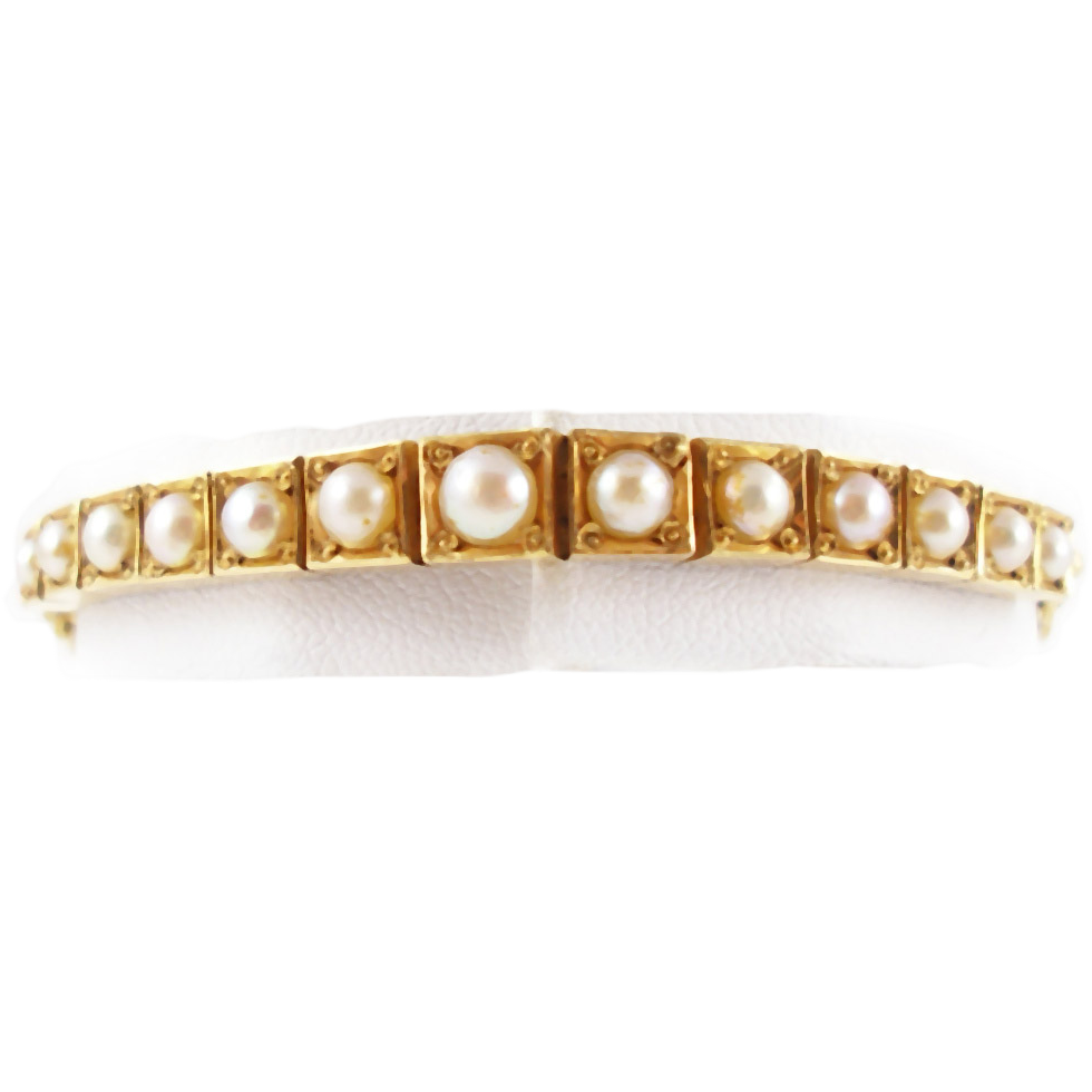Vintage 14K and Cultured Pearl Bracelet