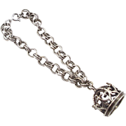 Eton Sterling Bracelet with Large 3D Crown Charm