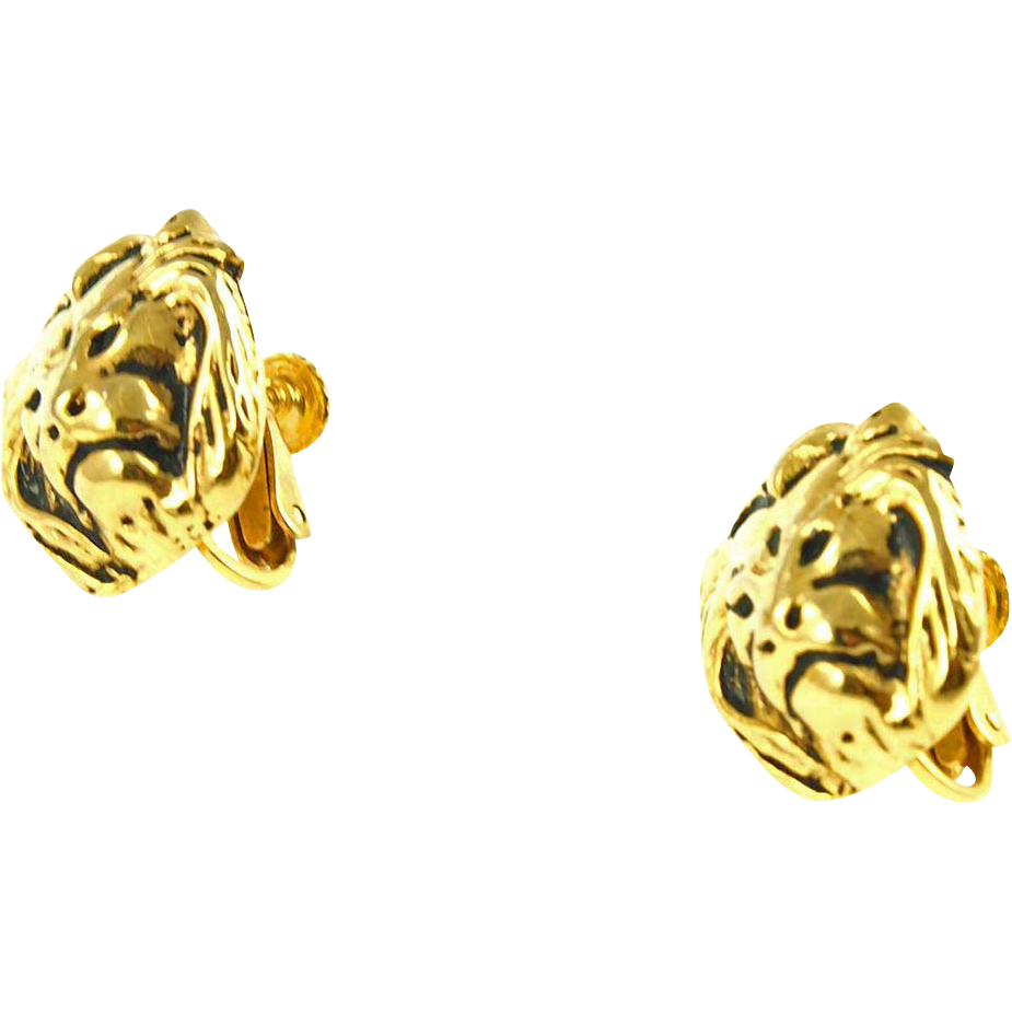 Vintage Anne Klein Lions Head Earrings