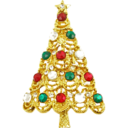 Vintage Jeweled Christmas Tree Pin