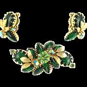 Vintage Green Floral Demi Parure