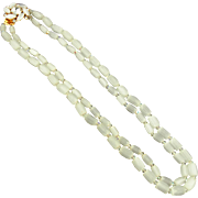 Vintage Frosted Glass Bead Necklace with Rhinestone Clasp