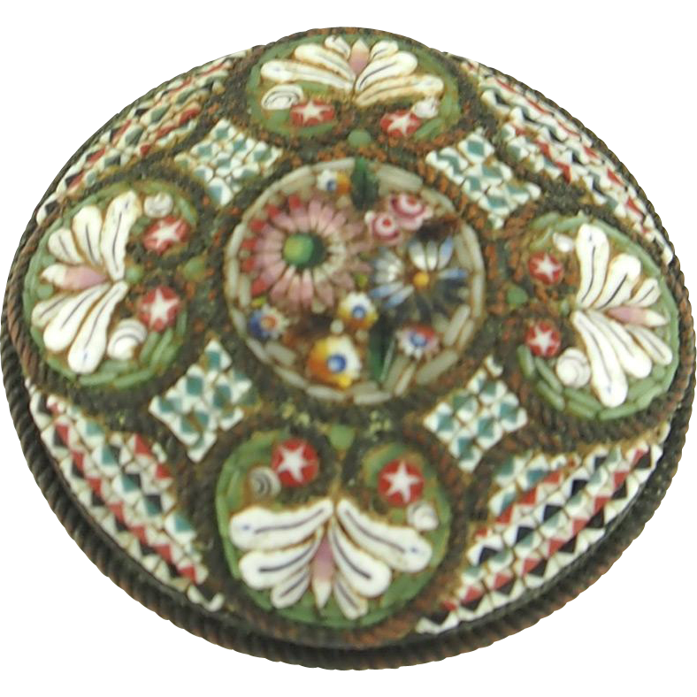 Antique Victorian Floral Mosaic Pin