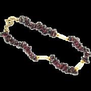 Vintage Tumbled Garnet and Rice Pearl Bracelet