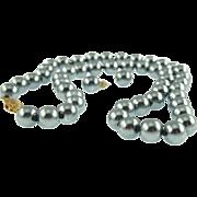 Vintage Single Strand Dark Grey Glass Pearl Necklace & Earrings