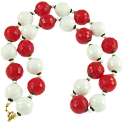 Vintage 1950's  Red & White Faceted Bead Necklace