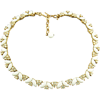 Vintage Trifari Opaque White & Crystal Rhinestone Necklace