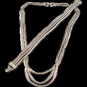 Vintage Silver Tone Snake Chain Demi Parure