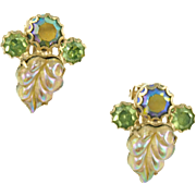 Vintage Weiss Predominantly Green Clip Earrings