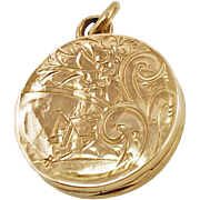 Antique Gold Filled Round Engraved Locket