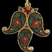 Large Vintage Champleve Floral Pendant