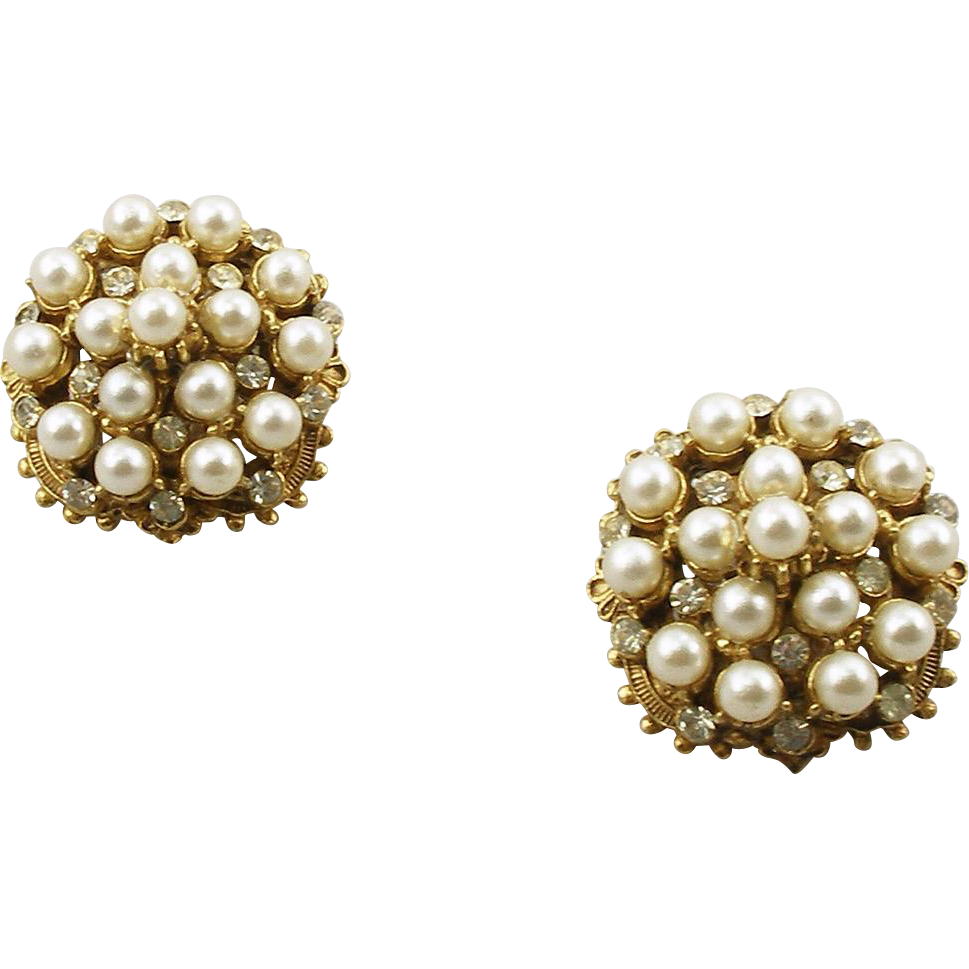 Vintage Unsigned Faux Pearl & Crystal Rhinestone Clip Earrings