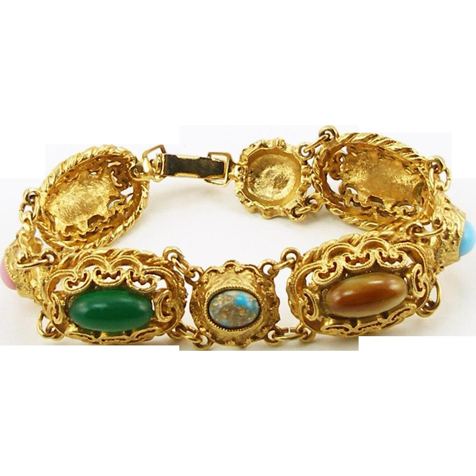 Unsigned Multi Colored Cabochon Bracelet