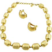 Vintage Monet Barrel Bead Necklace and Earrings Set