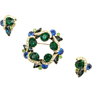 Vintage Unsigned Blue and Green Pin and Earrings Demi Parure