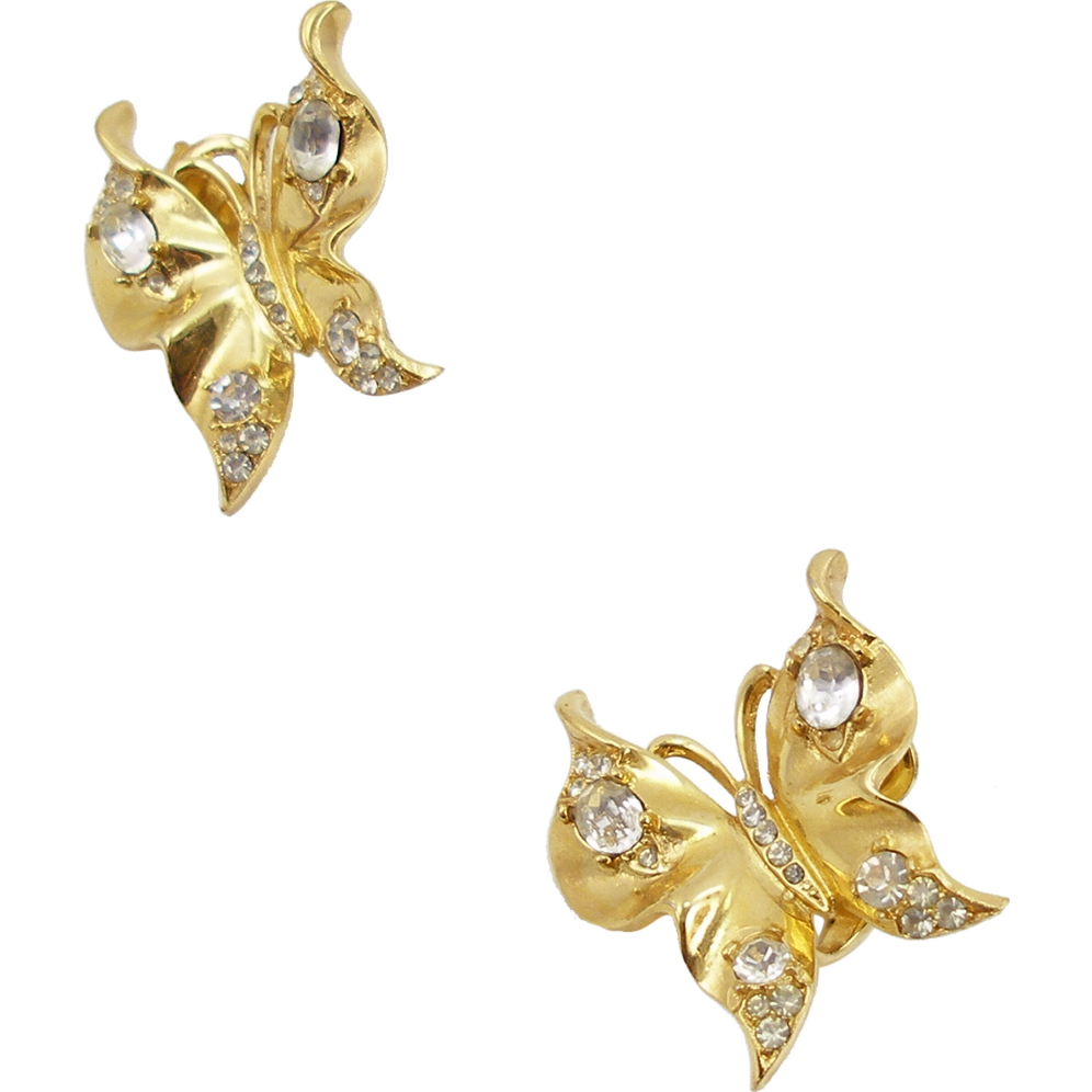 Vintage Trifari Golden Butterfly Earrings