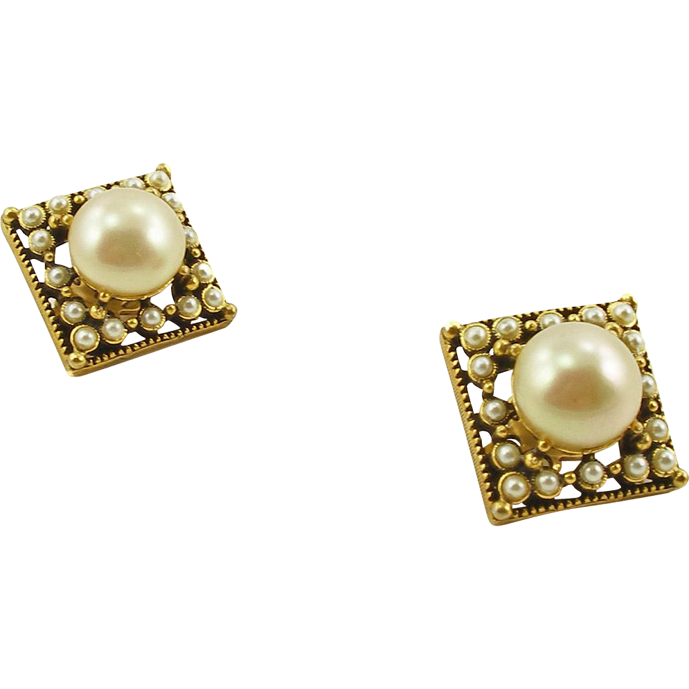 Vintage Unsigned Faux Pearl Clip Earrings