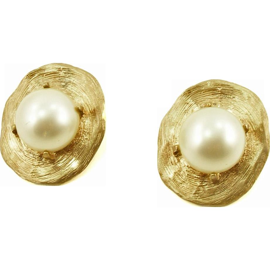 Vintage Designer Kenneth Lane Large Faux Pearl Clip Earrings