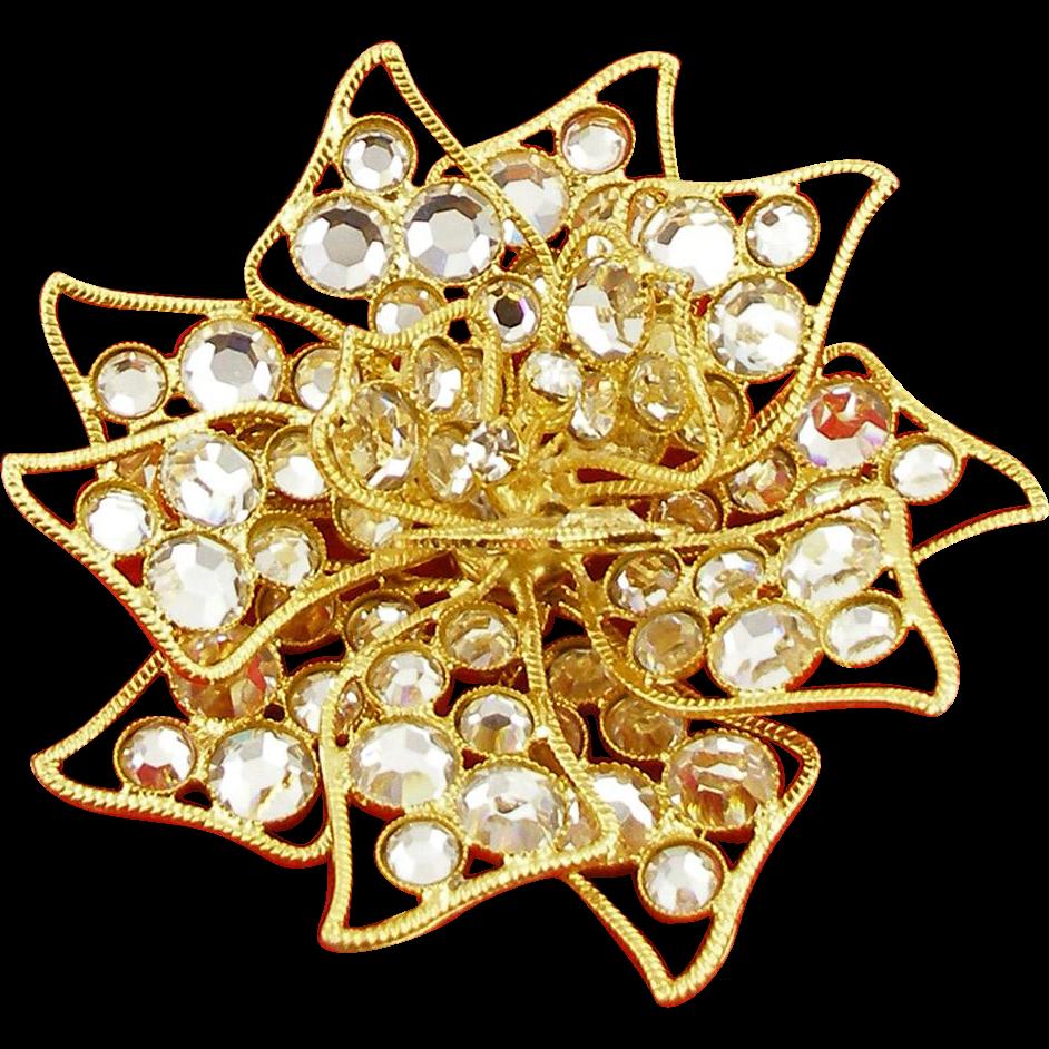 Vintage Signed Kenneth Lane Crystal Floral Pin