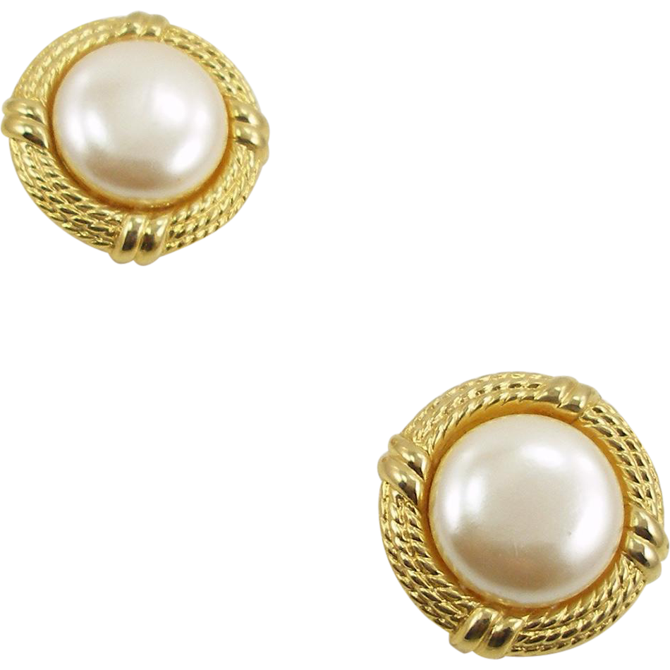 Vintage Signed Givenchy Large Imitation Pearl Clip Earrings