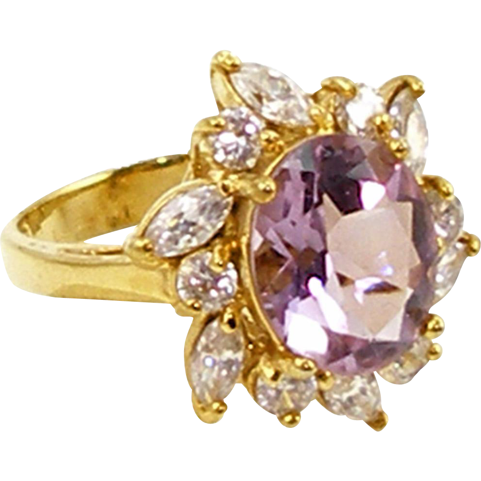 Vintage Gold Plated Sterling Faux Amethyst & Diamond Ring