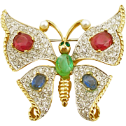 Unsigned Vintage Jeweled Butterfly Pin