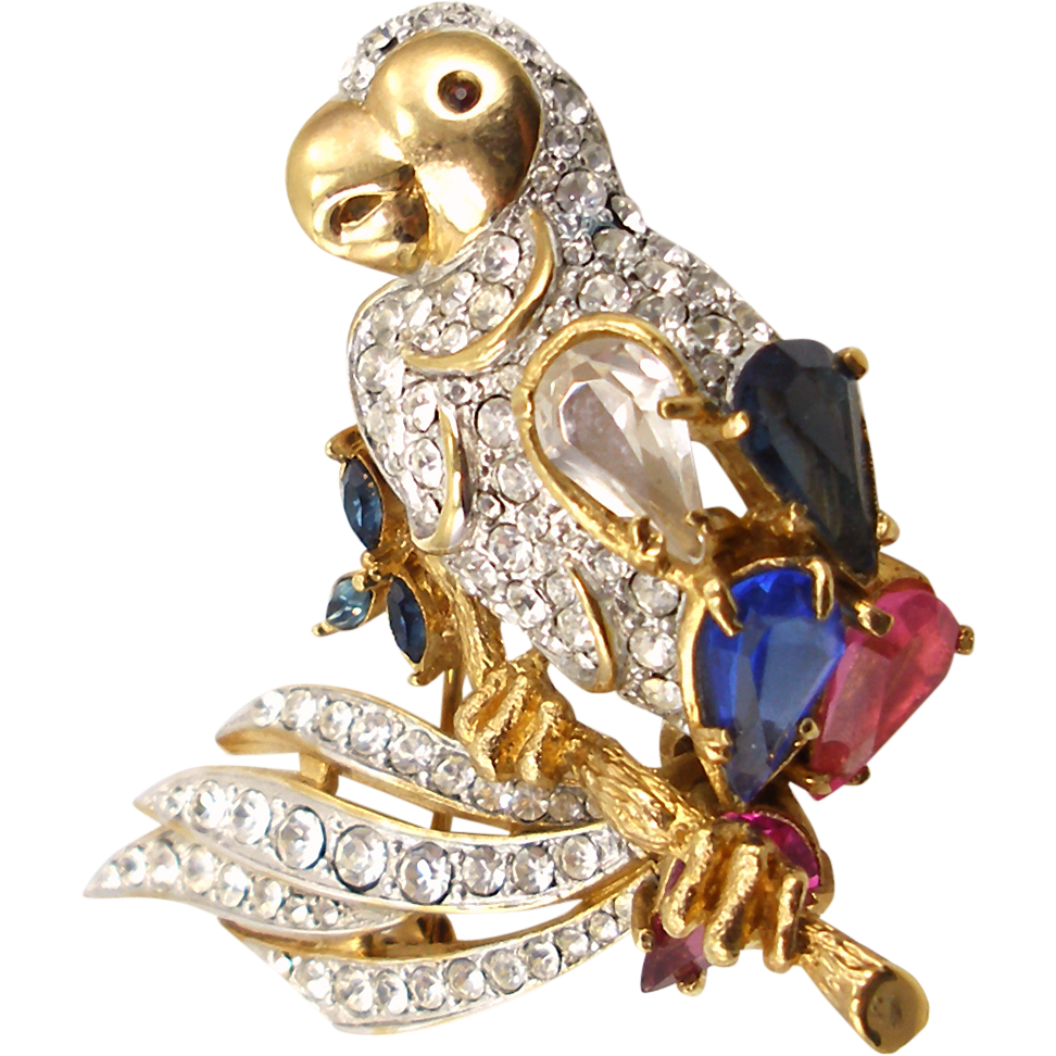 Vintage Unsigned Jeweled Parrot Brooch