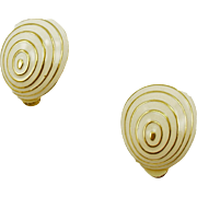 Unsigned Ivory Enameled Clip Earrings