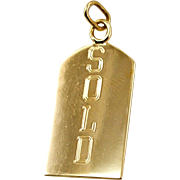 Vintage 14K Yellow Gold SOLD Charm