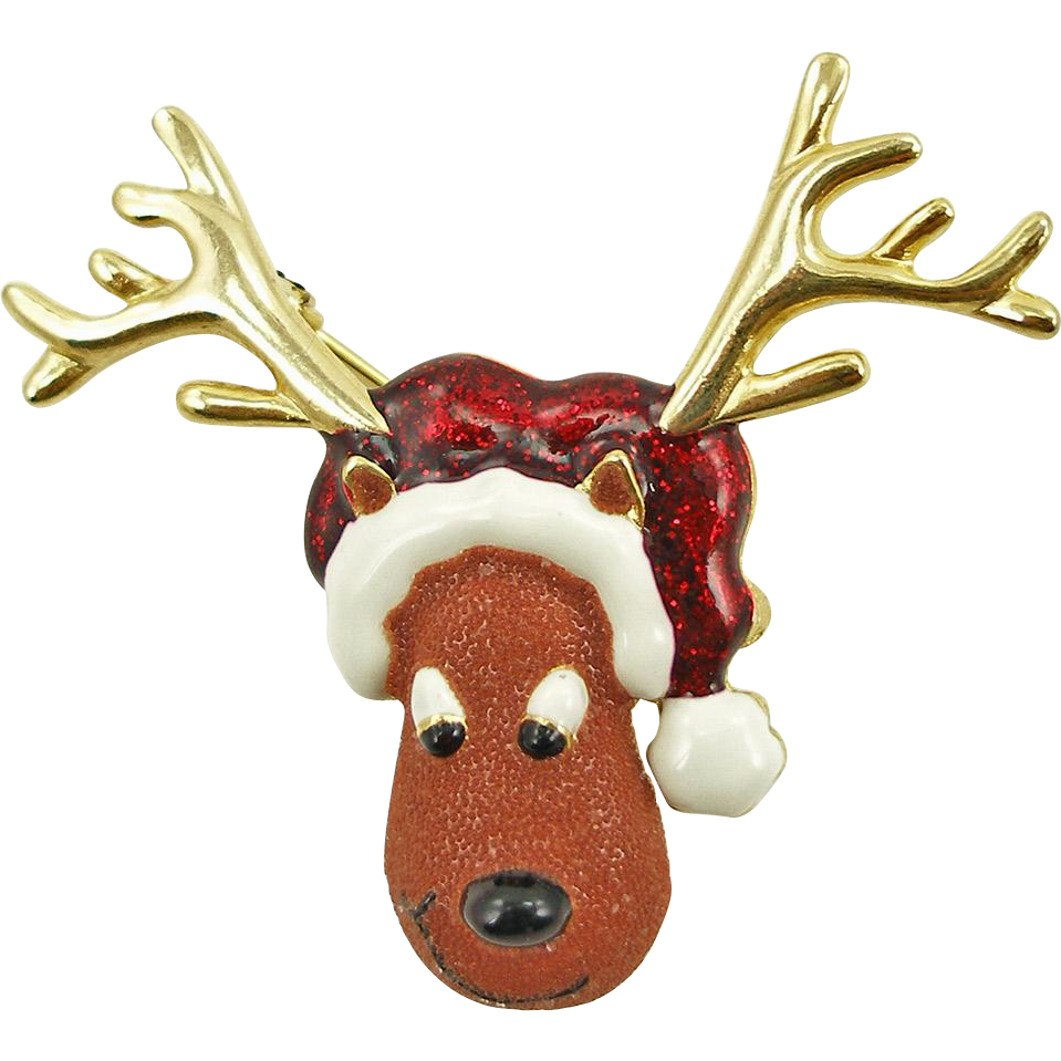 Vintage Signed Danecraft Christmas Moose Pin Holiday Jewelry