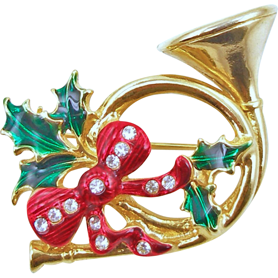 Vintage French Horn with Holly and Bow Pin Holiday Jewelry
