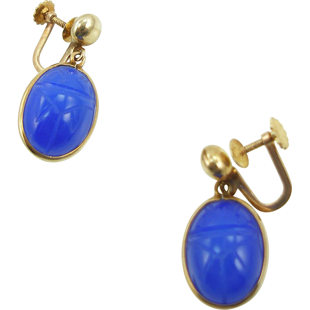 Vintage 10K Lapis Scarab Earrings