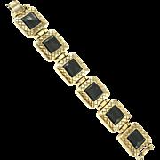 Vintage Black & Gold Tone Bracelet Signed Vo