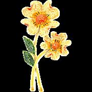 Vintage Signed Art Fantasy Flower Brooch