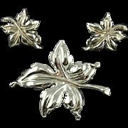 Vintage Trifari Silver Tone Leaf Set