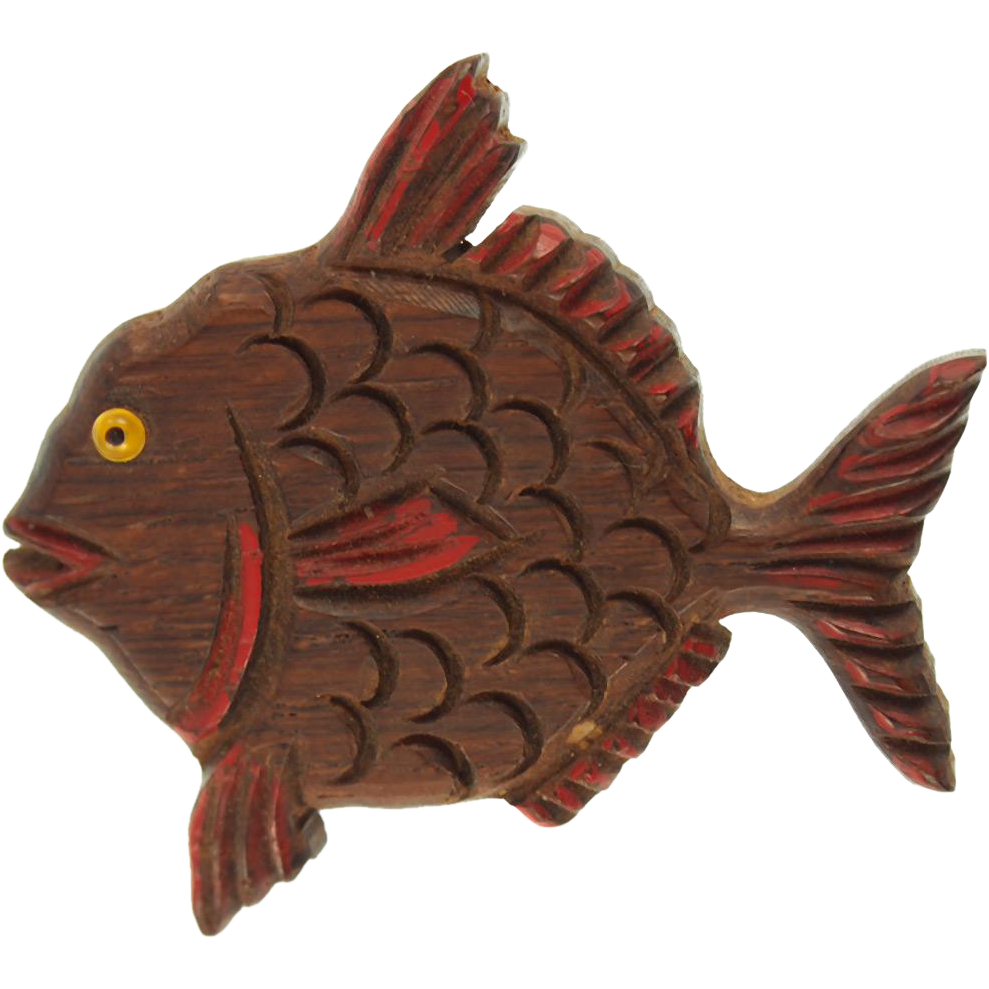 Vintage Carved Wooden Fish Pin
