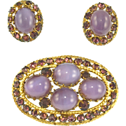 Vintage Czechoslovakia Faux Amethyst Pin & Earrings Set