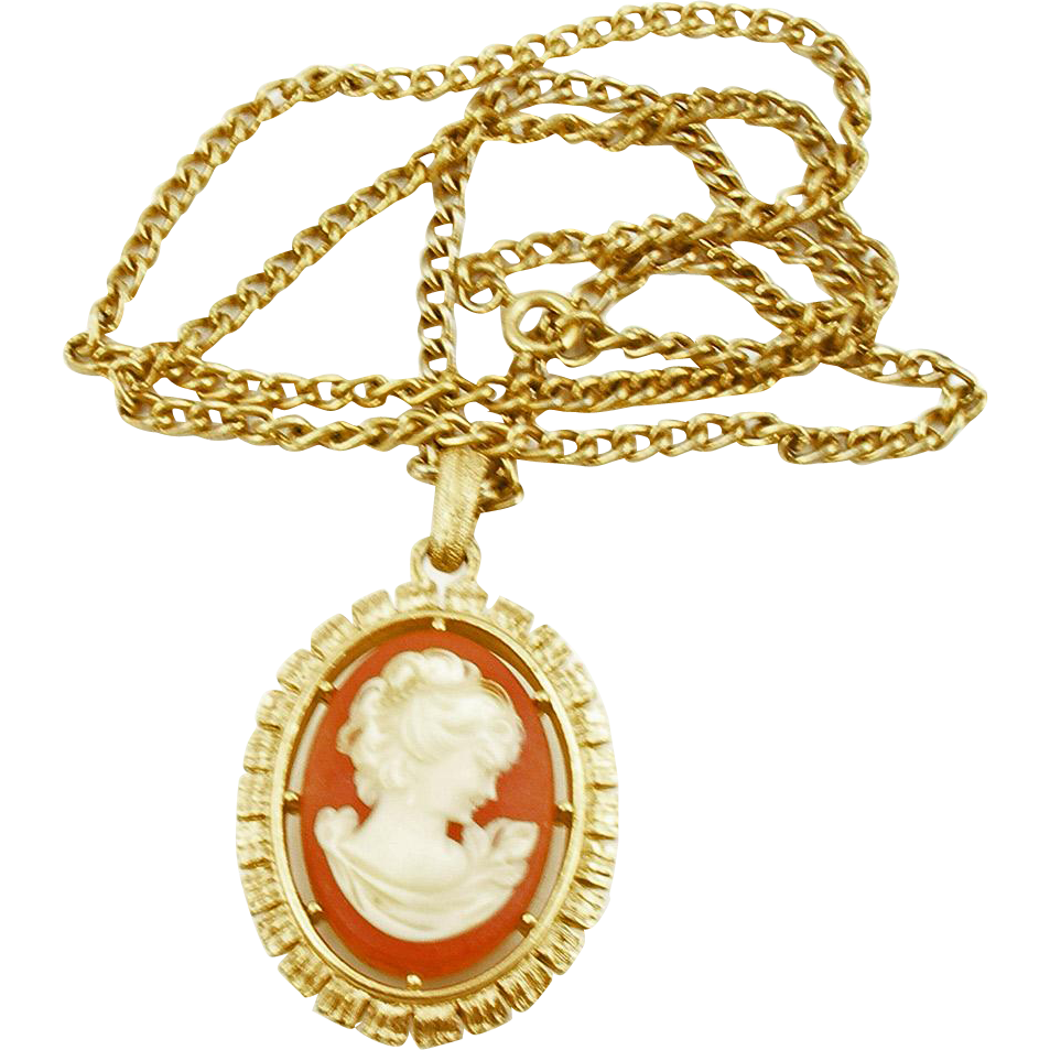 Vintage Resin Reversible Cameo Pendant on Chain