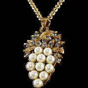 Vintage Faux Pearl and Faux Blue Topaz Pendant